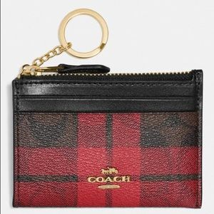 Coach NWT Red Plaid Card Holder/Wallet
